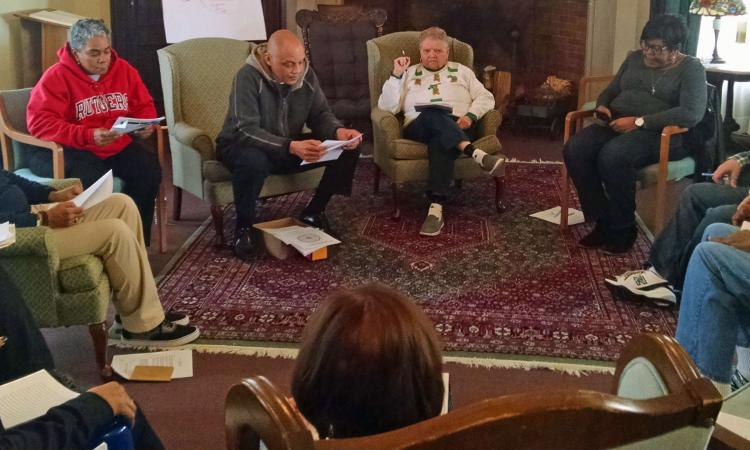 Namaste Commission members attending a March 2018 retreat led by the Rev. Charles Wynder, Jr., Episcopal Church Staff Officer for Social Justice and Advocacy Engagement.