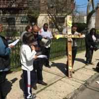 Good Friday Stations of the Cross at sites of violent crimes in Jersey City. Photo courtesy St. Paul's in Bergen via Facebook.