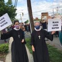 June 2, 2020: Sisters from the Community of St. John Baptist, Mendham, at a protest in Parsippany.