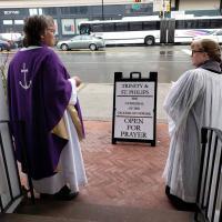 Bishop Hughes and Canon Clark at the Cathedral. NINA NICHOLSON PHOTO