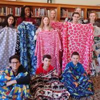 The confirmands made blankets for sick children in one of their Confirmation Retreat workshops.