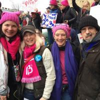Diocesan Chancellor Diane Sammons, of St. George's, Maplewood ran into Carter Echols (second from right), former diocesan Canon to the Ordinary, at the Women's March in Washington. PHOTO COURTESY DIANE SAMMONS