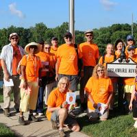 Monday, July 25: Group photo of Pilgrims at Delaware River