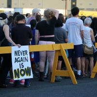 ELIZABETH: Lights for Liberty vigil outside the immigration detention center. NINA NICHOLSON PHOTO