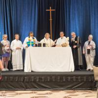 The Integrity Eucharist. Bishop-elect Carlye Hughes is fourth from the left. CYNTHIA BLACK PHOTO
