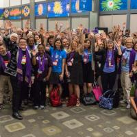 Purple Scarf Day at General Convention. PHOTO COURTESY CYNTHIA BLACK