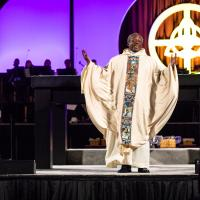 July 5: Presiding Bishop Michael Curry preaching at the opening Eucharist. CYNTHIA BLACK PHOTO