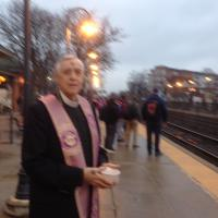 The Rev. Robert Browning of Grace Church, Rutherford at the Rutherford Train Station. BILL THIELE PHOTO