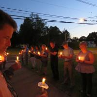 WARREN COUNTY: The Lights for Liberty vigil at Vienna United Methodist Church in Great Meadows attended by the Rev. Sharon Sheridan Hausman and her son, Carl. SHARON SHERIDAN HAUSMAN PHOTO