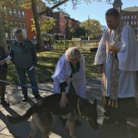The Rev. Elaine Ellis Thomas of All Saints, Hoboken and the Rev. Dr. Gary LeCroy of Matthew Trinity Lutheran, Hoboken hold a joint Blessing of the Animals. PHOTO COURTESY ALL SAINTS, HOBOKEN