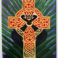 Holy Week by Debra Cook. This was created using acrylic, watercolor and gold leaf.