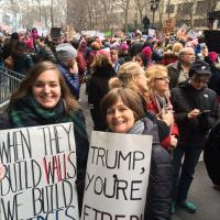 Maureen Killian (right) with her daughter at the Women's March in NYC. CINDY MENEGHIN PHOTO