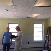 John Scott and Joe Schachtele, coordinators of the Carpenter's Club, at work in the classroom. CHRIS WHITAKER PHOTO