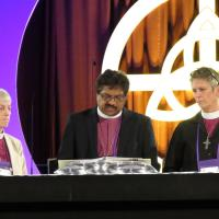 July 4: Bishop Prince Singh of the Diocese of Rochester, formerly a priest in the Diocese of Newark, reads a story submitted by a victim of sexual misconduct within the church. SHARON SHERIDAN PHOTO