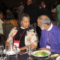 July 4: Bishop-elect Carlye Hughes and Bishop Mark Beckwith at the UBE gala.SHARON SHERIDAN PHOTO