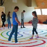 The Rev. Archie Palmer and Dunstanette Macauley led each small group through the meditative practice of the labyrinth. This mindfulness practice allows one to symbolically journey to one's center and return back out into the world. JERRY RACIOPPI PHOTO