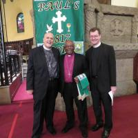 The Rev. Deacon Erik G. Soldwedel, Deacon in Residence at St. Paul's, Paterson, with Presiding Bishop Michael Curry and Canon Mark Stevenson. SHARON SHERIDAN PHOTO