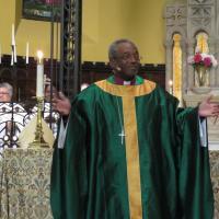 Presiding Bishop Curry preaching at St. Paul's, Paterson. SHARON SHERIDAN PHOTO