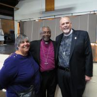 Presiding Bishop Curry with Linda Aprile-Soldwedel and the Rev. Deacon Erik Soldwedel. SHARON SHERIDAN PHOTO