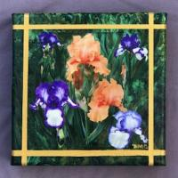 Presby Garden painting #2 by Debra Cook. These two paintings, of flowers in the Presby Memorial Iris Gardens in Montclair, were displayed in an art exhibit in Chelsea, New York, a few years ago.