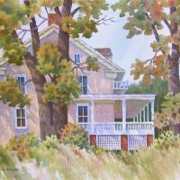 Long Valley House by Connie Halliwell. This painting is being exhibited in a virtual at show by the Art Association in Roxbury in April 2020.
