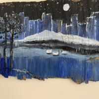 Painting on wood by Melissa Hall