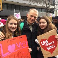 Sebastian Hill of St. George's, Maplewood with his daughters at the Women's March in NYC. PHOTO COURTESY SEBASTIAN HILL