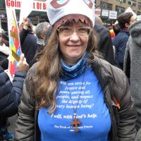 Author Sharon Sheridan Hausman of Messiah, Chester at the Women's March in NYC. PHOTO COURTESY SHARON SHERIDAN HAUSMAN