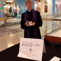 The Rev. Marge Lindstrom of St. Matthew's, Paramus offered Ashes To Go at the Garden State Plaza in Paramus.