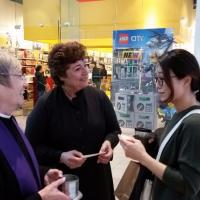 The Rev. Marge Lindstrom of St. Matthew's, Paramus, assisted by Linda LoPresti, offered Ashes To Go at the Garden State Plaza in Paramus.