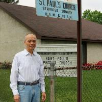 Gary Eng outside St. Paul's, North Arlington. NINA NICHOLSON PHOTO