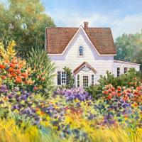 Summer at Frelinghuysen by Connie Halliwell. This painting is being exhibited in a virtual at show by the Art Association in Roxbury in April 2020.