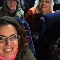 Susan Suarez of St. Paul's in Bergen, Jersey City on a bus to the Women's March in Washington. SUSAN SUAREZ PHOTO