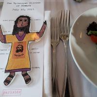 "July 10: ""Flat Jesus"" at the Newark dinner. NINA NICHOLSON PHOTO"