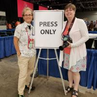 """July 11: The Rev. Diana Wilcox and Nina Nicholson have been """"drinking from the firehose"""" working to cover the Newark deputation at General Convention. KARIN HAMILTON PHOTO"""