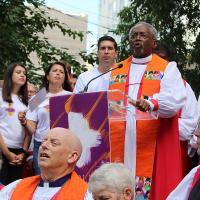 July 8: Presiding Bishop Michael Curry speaks at the public witness. NINA NICHOLSON PHOTO