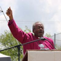 Presiding Bishop Curry speaking at the Hutto witness. NINA NICHOLSON PHOTO