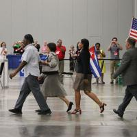 July 11: The Cuban deputation is escorted onto the floor of the House of Deputies. NINA NICHOLSON PHOTO