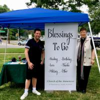 "The Rev. Lynne Bleich Weber and a parishioner of Atonement host the ""Blessings to Go"" booth at Tenafly's first Pride Day. PHOTO COURTESY ATONEMENT, TENAFLY"