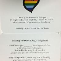 Close-up of one of the Blessing cards given out at Tenafly's Pride Day. PHOTO COURTESY ATONEMENT, TENAFLY