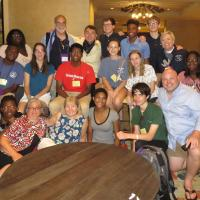 The Newark youth contingent and chaperones with Bishop Mark Beckwith. SHARON HAUSMAN PHOTO