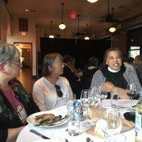 July 10: Bishop-elect Carlye Hughes joined the Newark dinner. DIANA WILCOX PHOTO