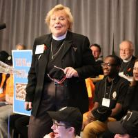 In the absence of the Rev. Sheelagh Clarke, felled by flu, the Rev. Kathryn King gave the Youth & Young Adult Ministry report at Convention. NINA NICHOLSON PHOTO
