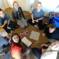 The teens play games provided for them by members of the Diocese of Newark. KATHRYN KING PHOTO