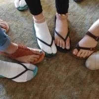 Many of the teens were wearing sandals or flip-flops because they'd donated the shoes off their feet and their extra clothing to the orphanage in the DR where they had been working. KATHRYN KING PHOTO