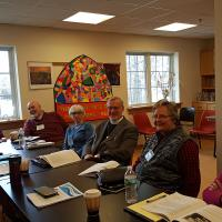 The clergy of the Listening Excursion congregations meet with members of the first Clergy Cohort in their own breakout session. GINNY DINSMORE PHOTO
