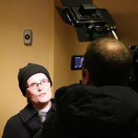 The Rev. Diana Wilcox speaks to a reporter. NINA NICHOLSON PHOTO