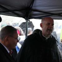 The Rev. John Mennell introduces Senator Bob Menendez. NINA NICHOLSON PHOTO