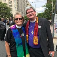 The Rev. Diana Wilcox with Bishop Chip Stokes of the Diocese of New Jersey. PHOTO COURTESY DIANA WILCOX