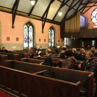 The congregation shares stories from Holy Communion's years of ministry. NINA NICHOLSON PHOTO